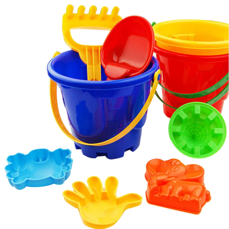 7Pcs Children'S Beach Play Water Play Sand Toys Children'S Plastic Beach Toys Outdoor Play House Tools Castle Bucket Shovel Wa