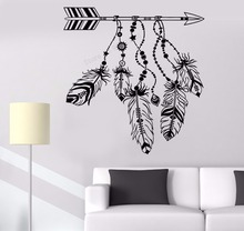 Art  Wall Sticker Vinyl Art Removeable Poster Arrow Feathers Ornament Dreamcatcher Protective Arrow Feathers Poster LY179 постер poster art 50305025 мдф