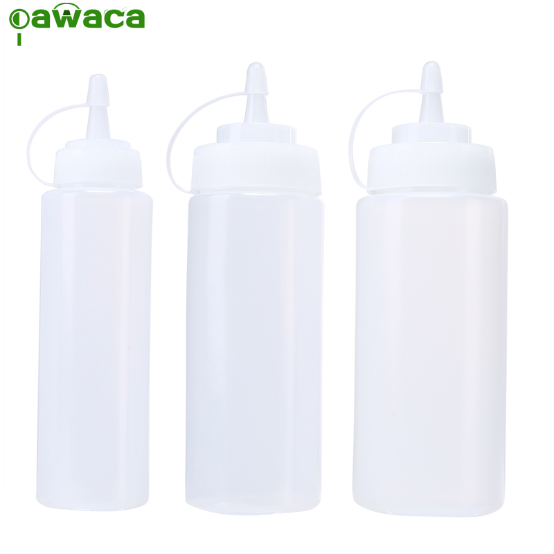 Pawaca Plastic Squeeze Bottle 3pcs / Set 8 Oz 12 Oz 16 Oz Plastic Kithcen Dispensador de condimento para salsa de vinagre Aceite Ketchup Cruet