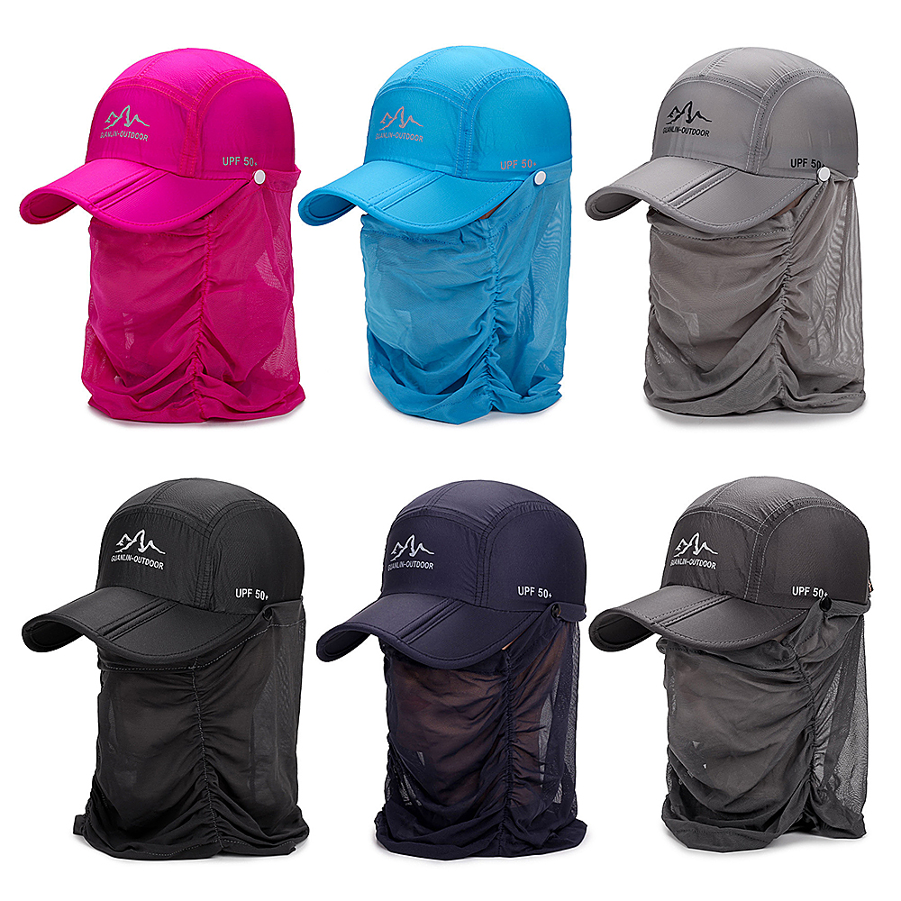 Image 5 - Outdoor UV Fishing Hat Women Protection Folding Sun Hat Fishing Hiking Sun Cap with Face Neck Flap Cover-in Fishing Caps from Sports & Entertainment