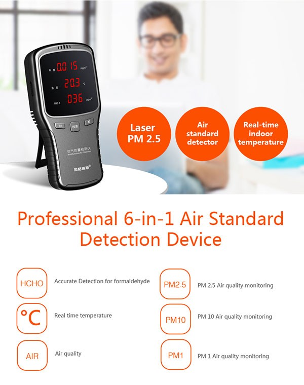 6 viename WP6910 PM1.0 PM2.5 PM10 matuoklis HCHO matuoklio oro - Matavimo prietaisai - Nuotrauka 2