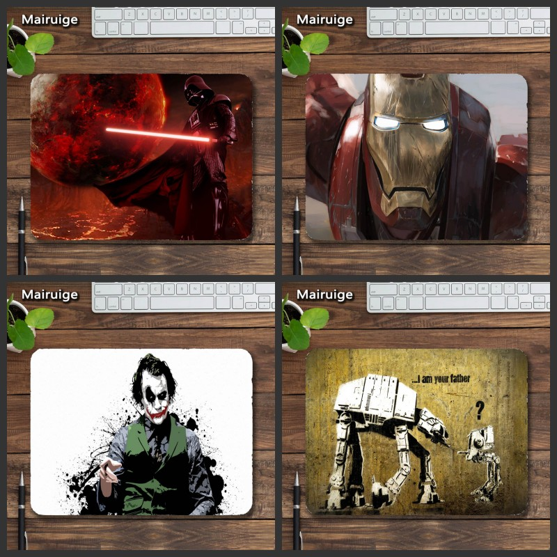 Mairuige Лидер продаж фильм коврики супергероя Железный человек Звездные войны клоун прочный большой игровой коврик Тетрадь PC оптическая мышь ...