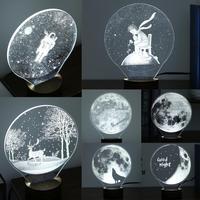 Hot Modern Criativo Carregamento USB 3D LED Luzes Da Noite com Base de madeira Pequena Lâmpada de Mesa Luz Quente do Presente para o Feriado atmosfera