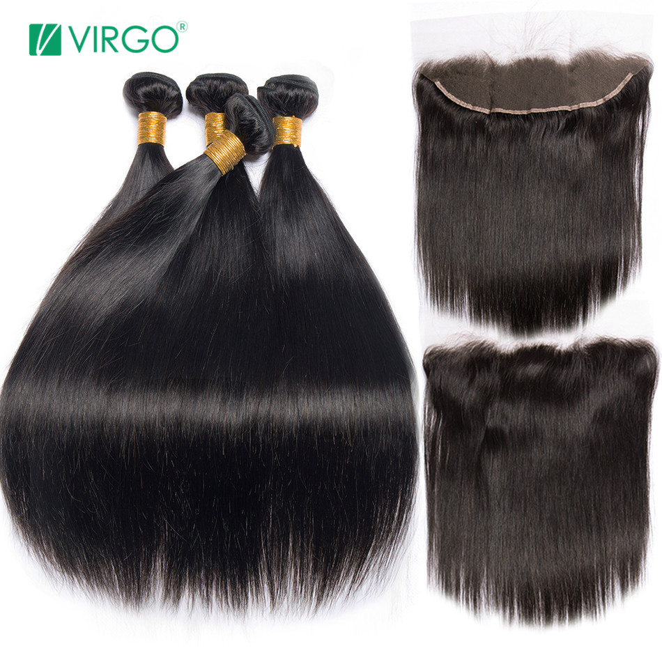 Peruvian Straight Hair Bundle with closure 3 bundle human hair weave Virgo Hair lace frontal closure with bundles 4pcs non remy(China)