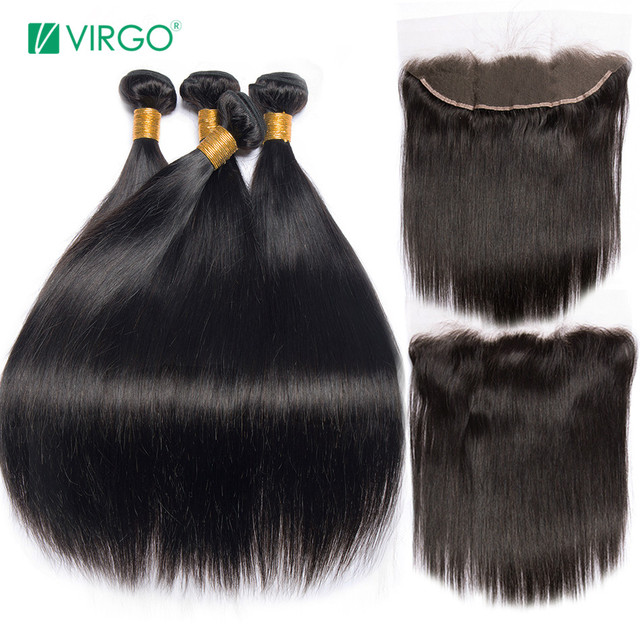 Peruvian Straight Hair Bundle with closure 3 bundle human hair weave Virgo Hair lace frontal closure with bundles 4pcs non remy