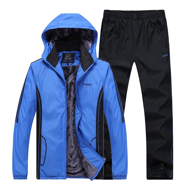 2017 Winter Men sweat suits fleece warm Man Tracksuit set  jogger suits thickening sports suit  jacket pants and sweatshirt set