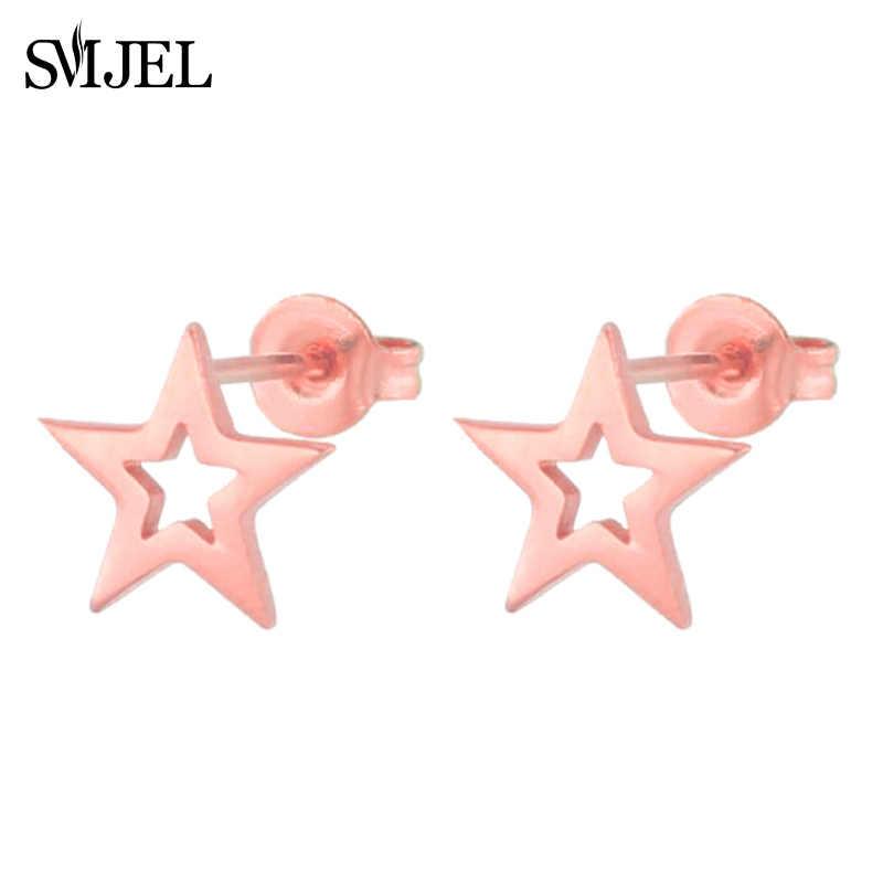 SMJEL Hollow Star ต่างหูสีดำสแตนเลสต่างหู Punk Stud Earrings 2019 ต่างหูผู้หญิงเครื่องประดับ oorbellen