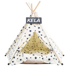 JORMEL 2019 Fashion Pet Teepee Tent Dog Cat Toy House Portable Washable Pet Bed Star Pattern Not Contain Mat(China)