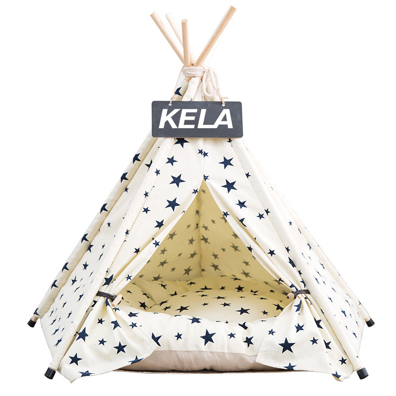JORMEL 2019 Fashion Pet Teepee Tent Dog Cat Toy House Portable Washable Pet Bed Star Pattern Not Contain Mat