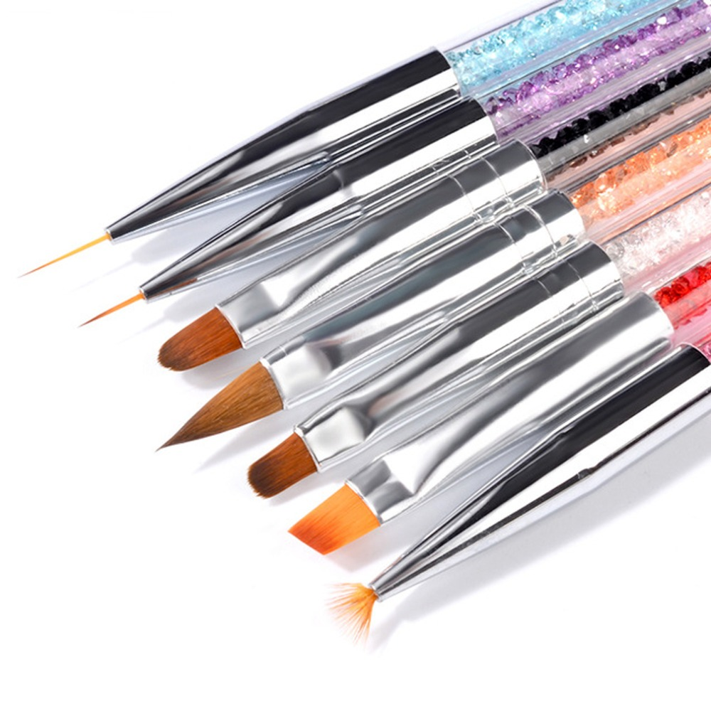 1 Set 7 Styles  Flower Painting Coating Shaping Flat Fan Angle Brush Acrylic and Drawing Pen 1