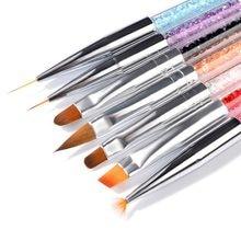1 Set 7 estilos de línea de arte pintura de La Flor de forma plana ventilador ángulo cepillo acrílico extensión de GEL UV constructor pluma de dibujo