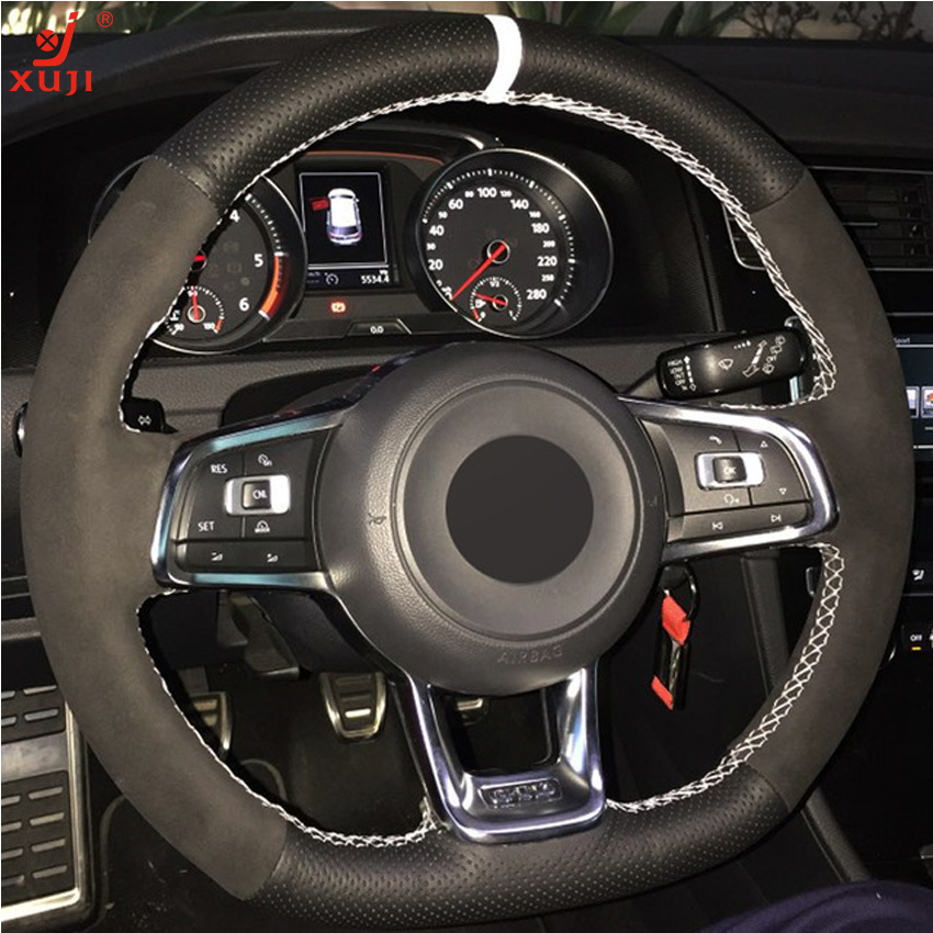 2018 Golf R Mk7 5 Colour Booklet: XUJI Car Steering Wheel Cover Black Suede Genuine Leather