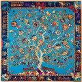 Lady Elephant Horse Totem Life of Tree Print Twill Silk Scarf for women Spring Summer Neck Scarves Bandanas Big Foulard Femme