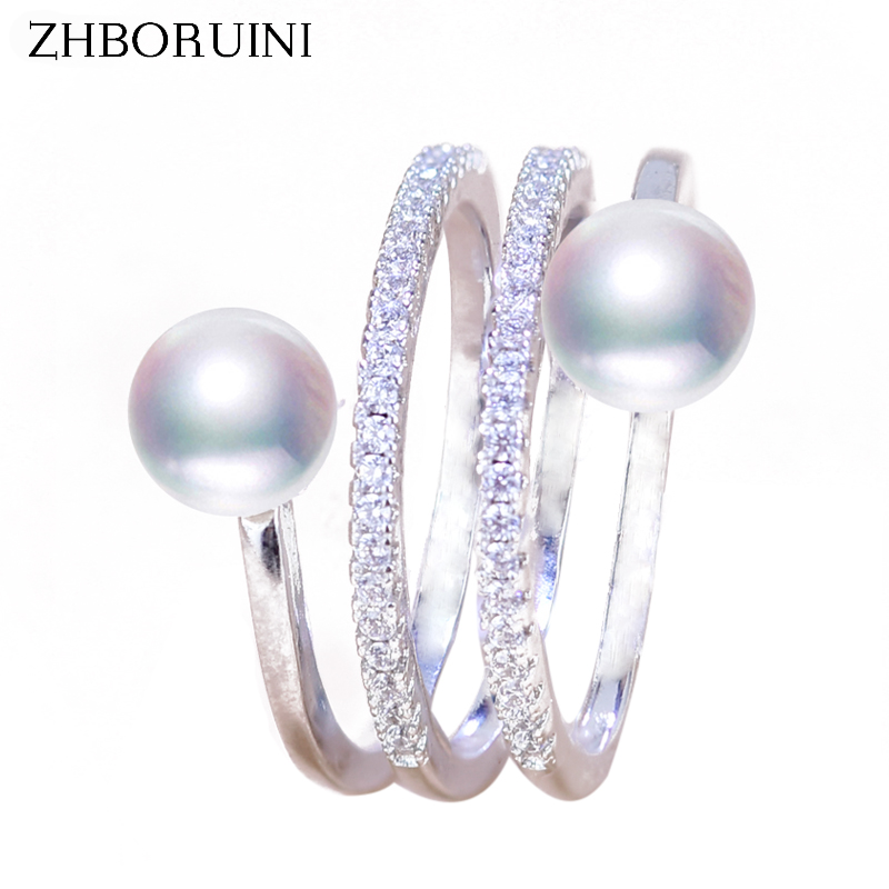 ZHBORUINI 2018 Fashion Pearl Ring Jewelry Of Silver Multi Row Natural Freshwater Pearl Big Rings 925 Sterling Silver For Women