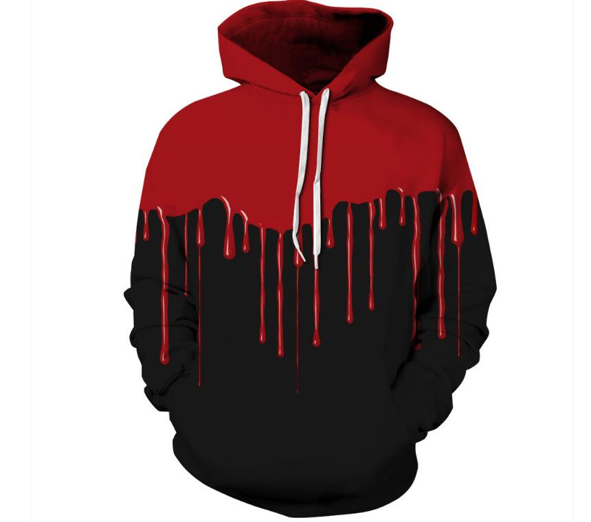 2018 New Fashion Men/Women 3d Sweatshirts Print Red Black Hoodies with hat Autumn Winter Thin Hooded Pullovers Tops Unisex Hoody