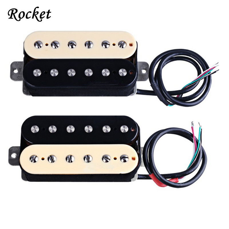 Electric Guitar Neck Bridge Pickup Humbucker Double Coil Ivory High Output-HZ5 guitar pickup humbucker gold chrome black double coil pickups electric guitar parts accessories bridge neck set