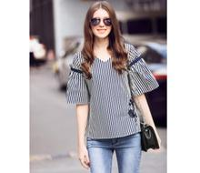 Summer Blue Blouse Women Fashion Stripe Shirt V-Neck Casual Business Tops High Quality Lady's Clothing Free Shipping