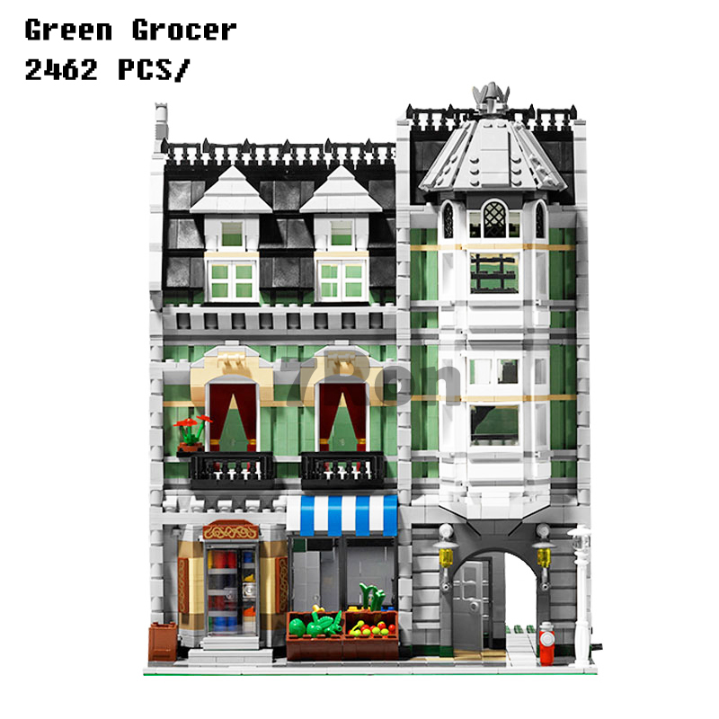 Models building toy 15008 2462pcs Green Grocer Model Building Blocks Compatible with lego City Series 10185 toys & hobbies updated led light up kit for lego 10185 and 15008 green grocer not include building blocks model only led light set
