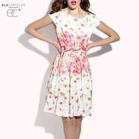 ElaCentelha Brand Dress Summer Women High Quality Print Cute Dress Casual Sleeveless Waist Mini Bodycon Women