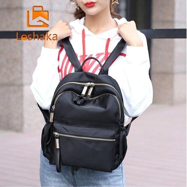 Loshaka Women Backpack for School Teenagers Girls Stylish School Bag Ladies  Nylon Fabric Backpack Female Bookbag 8df052a0f6ec1