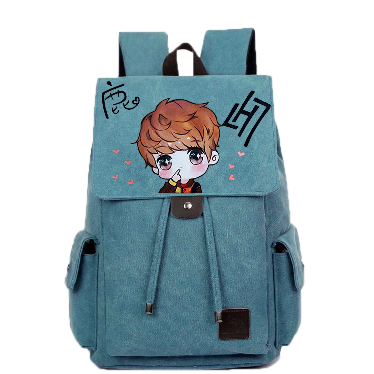 2017 new cartoon student campus Korean version of the graffiti hand-painted pattern men and women fashion leisure backpack fashion rabbit and grass pattern 10cm width wacky tie for men