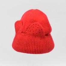 2016 Мода дети Шерсть шляпа Зима Теплая шерсть Шапочка Hat Люкс высокое качество Милые Девушки шляпа уха Вязаная шапка дети Sonw Hat