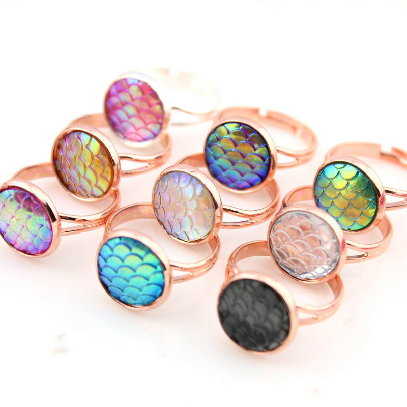 8 Colors Option Hot Fashion Mermaid Rings for Women Jewelry Gold & Rose Gold & Silver & Gunmetal Fish Scale Rings Wholesale