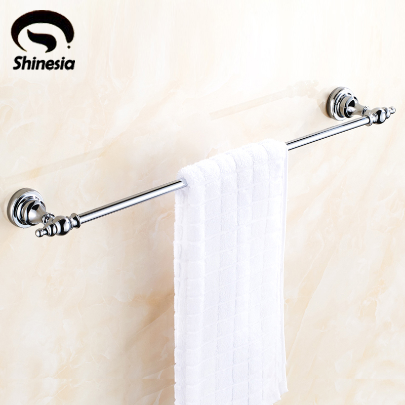 цены  High Quality Solid Brass Bathroom Towel Bar Single Towel Rack Towel Holder Chrome Polished