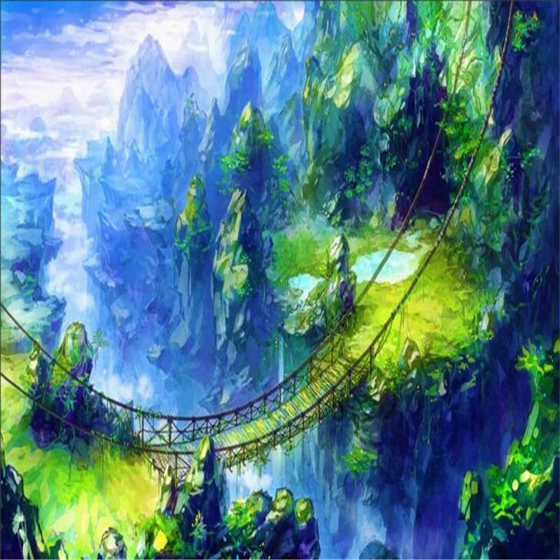 Beibehang, Personalisierte Tapete Kunst Konzept Geheimnis Märchenland  Brücke Cliff Landschaft Wissenschaft Fiction Dekoration In Beibehang, ...