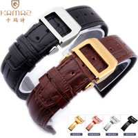 Crocodile pattern fitted to Universal watch with IWC folding buckle pilot Portuguese series leather strap male cow watchband 20
