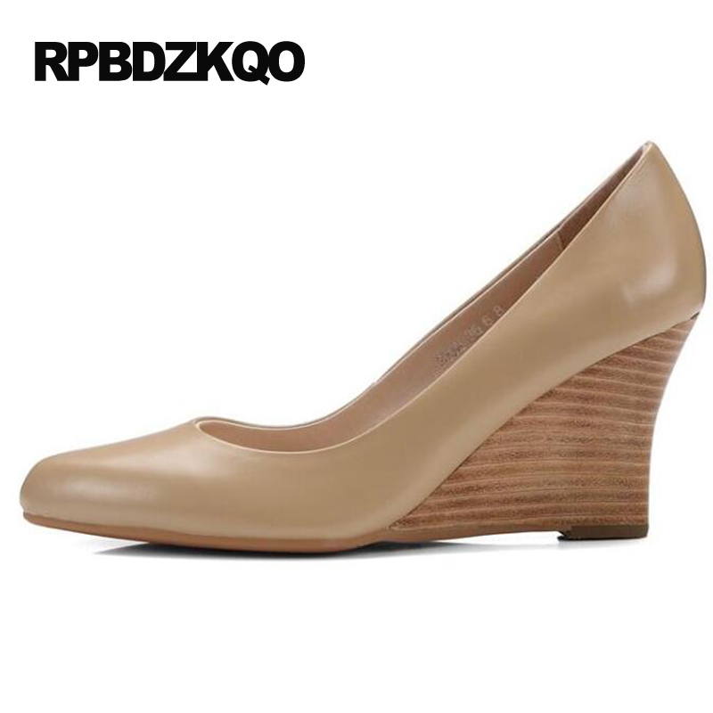 Größe 4 34 Damen Formale Schuhe High Heels Kleine Herbst Nude Pumps Keil Büro Spitz 2017 Echtem Leder Gericht echt - 3