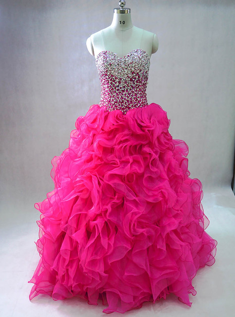 5db99c54e93 Ruffle Organza victorian masquerade Fuchsia hot pink quinceanera dresses  Pink Sweet 15 Party Ball Gown Prom Gowns