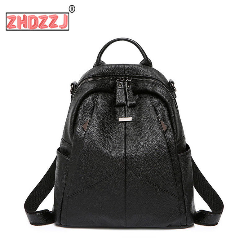 Vintage Mini Backpack Two Zipper Women Backpack Good Quality Black PU Leather Backpack Sac A Dos Femme High Capacity Travel Bag