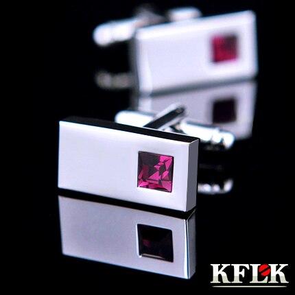 4 Couleur KFLK manchette De chemise de Luxe pour hommes Marque manchette boutons Pourpre boutons De manchette En Cristal de Haute Qualité abotoaduras Bijoux