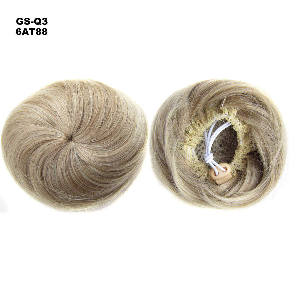 TOPREETY Heat Resistant Synthetic Hair Extension 30gr Curly Chignon Drawstring Rubber Band Updo Donut Q3