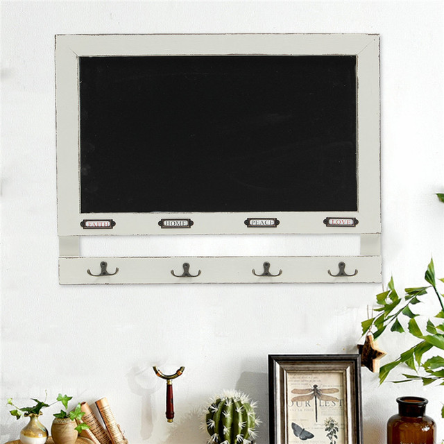 Vintage Shabby Chic Hook Chalk Board Self Wall Message Kitchen Bar Notice Rustic Hooks Blackboard