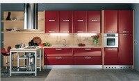 2017 Лидер продаж глянцевый лак кухонные шкафы красный цвет Современные 2Pac кухонной мебели кладовая l1606078