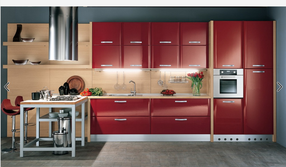 2017 Hot Sales High Gloss Lacquer Kitchen Cabinets Red Colour Modern