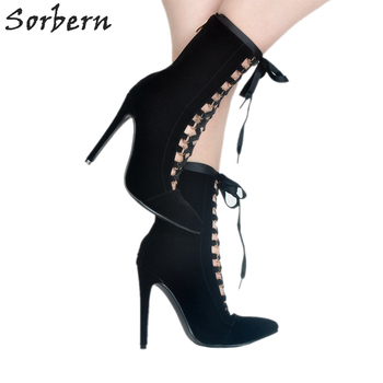 Sorbern Black Pointed Toe Ankle Boots For Women High Heels 2018 New Boots Women Luxury Shoes Women Designers Botines Mujer 2018