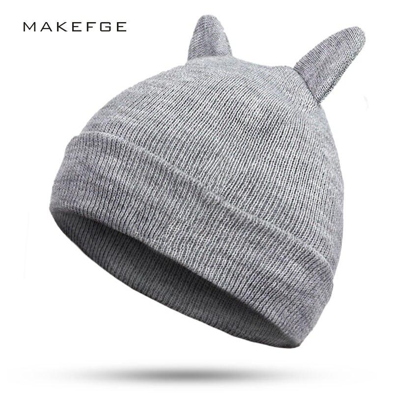 2019 New Brand Winter Hats Knitted Hat Hot Ears Cat Girl High Fashion Women Cotton  Hat Women Cap Caps Trilby Balaclava Beanie