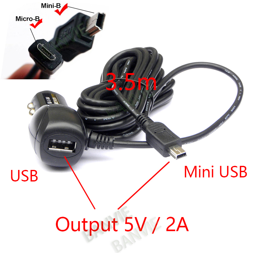 Mini / Micro USB-port Dual USB 5V 2A Billaddare Adapter Cigarettändare för bil DVR-laddning med 3,5 meter kabel