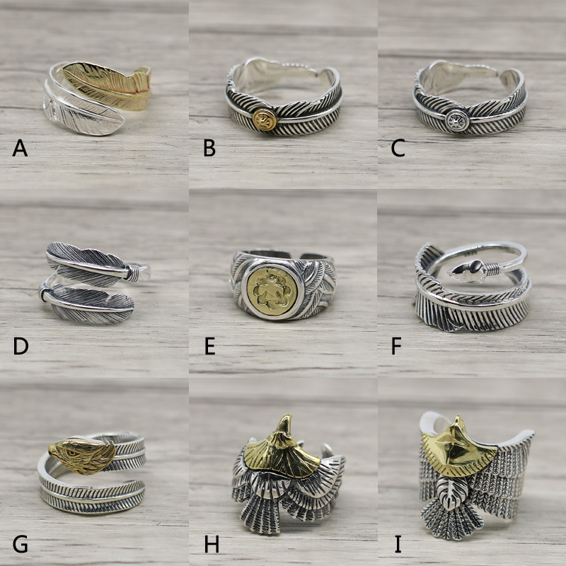 Fashion Takahashi Kagura Goro Feather Eagle Open Ended Ring S925 Sterling Silver Retro Thai Silver Jewelry Ring Men And Women
