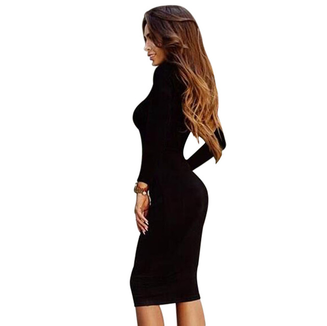 Weekeep 2016 Autumn Cotton Korean Dress Black Sheath Office Dress Women Bodycon Dress Sexy Party Dresses Vestidos Robe