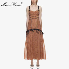 цена на MoaaYina Sexy Party Backless Spaghetti Strap Ruched Dress Spring Summer New Chiffon Wave point dress