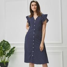 Dress for women office midi dress 80s 2019 vintage cute