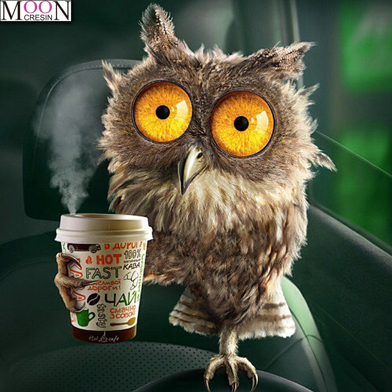 MOONCRESIN 5D DIY Full Embroidery Owl Drinking Coffee 3D Diamond Painting Cross Stitch Square Drill Mosaic Home Decor Needlework in Diamond Painting Cross Stitch from Home Garden