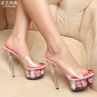 Big Size Summer Style Sandals Nightclub Sexy Women Pumps 5 CM Flower Platform Shoes Woman Transparent