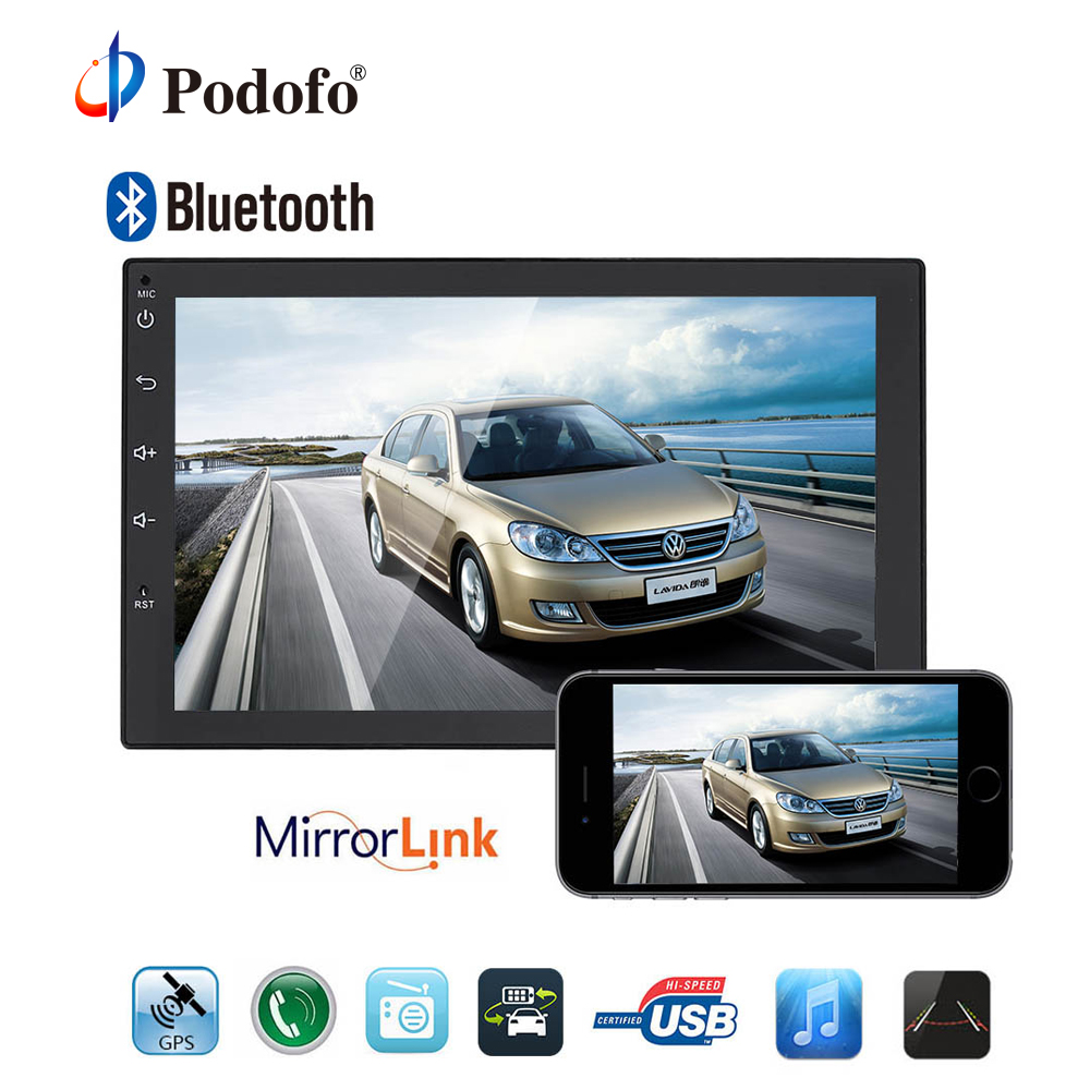 Podofo 2 Din Android Universal Car Radio GPS Navigation Bluetooth 2din Car Audio Stereo FM USB Car Multimedia MP5 No DVD Player auto android 6 0 car audio gps navigation 2din car stereo radio car gps bluetooth usb universal interchangeable player tv 8g map