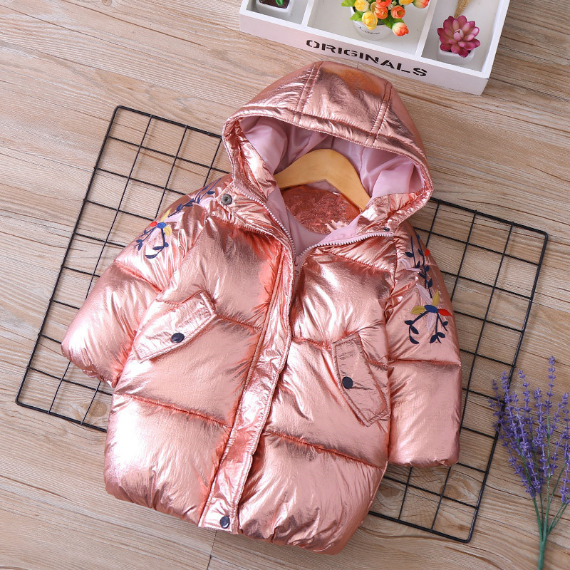 winter baby girl jacket Coat hooded worm embroidery flower shinning kids Parkas children Clothes fashion