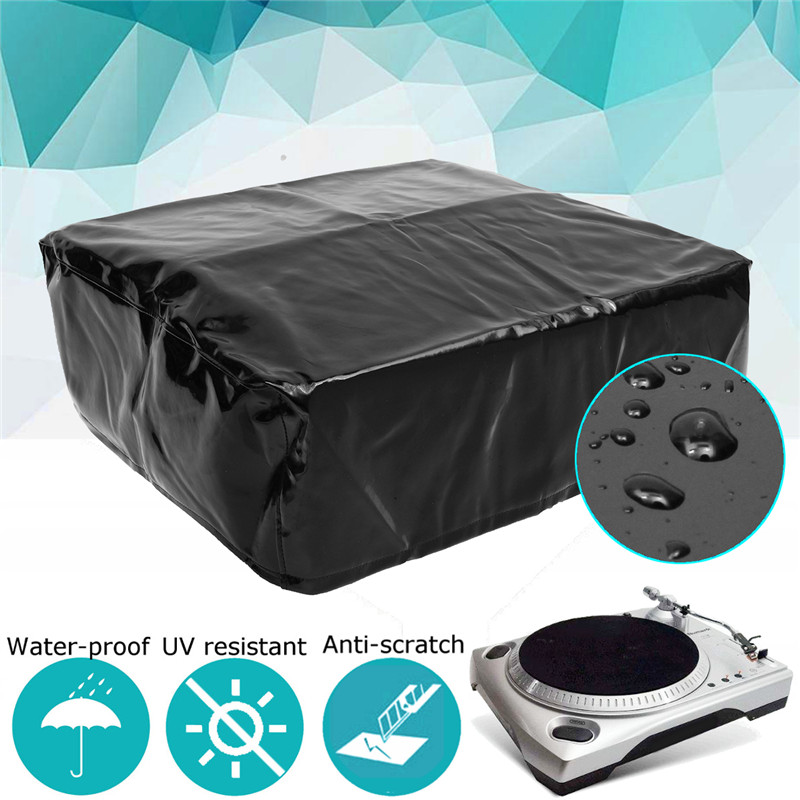 Black Studio Recording Equipment Cover Turnplate Waterproof Covers Turntable Dust Cover Protector 18 X 15 X 5.5 Inches Polyester